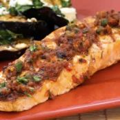 Grilled Salmon w/ sun-dried tomato, Olive, Caper, & Parsley relish