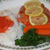 Broiled Salmon with Rice, Red Pepper Sauce, Broccolini, Pineapple and Blueberries