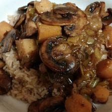 Ale-Braised Steak with Parsnips and Mushrooms