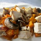 Roasted Kabocha and Mushrooms with Leftover Turkey