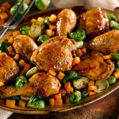 Pan Roasted Maple Dijon Chicken With Butternut Squash & Brussels Sprouts