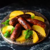 Medieval Chicken Sausage w/Saffron-Rose Apples