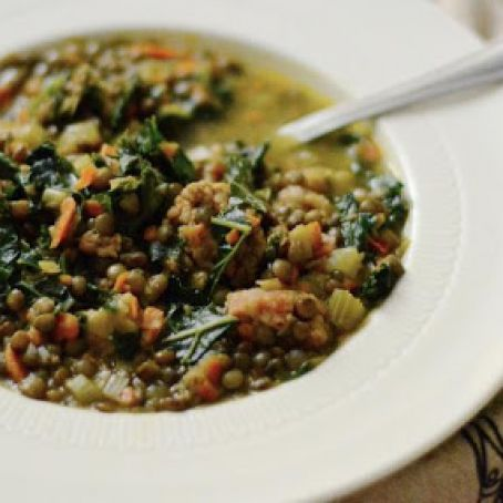 French Lentil Soup with Sausage and Kale