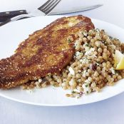 Sesame Turkey Cutlets with Israeli Couscous Pilaf