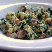 Turkey Sausage,  Spinach & Egg Scramble