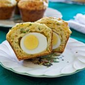 Cheddar Chive Muffins With Hard-Boiled Egg