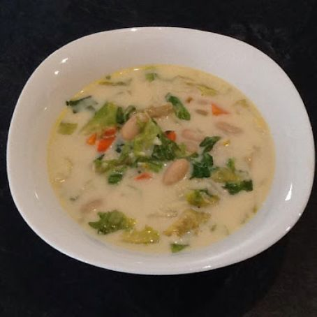 Creamy Garlic, Cannellini Bean & Escarole Soup with Parmesan