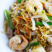 Chicken, Pork, Shrimp Chow Mein With Fried Noodles