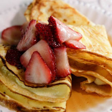 Crêpes with Homemade Ricotta and Maple-Strawberry Syrup