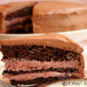 Chocolate Mocha Cake with Raspberry Buttercream Filling & Chocolate Fluff Frosting