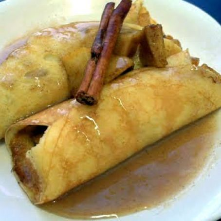 Apple Stuffed Crepes with Caramel Sauce