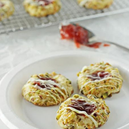 Strawberry Pistachio Thumbprint Cookies