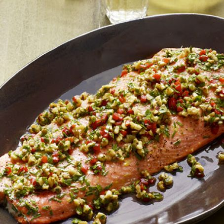 Roasted Salmon With Walnut-Pepper Relish