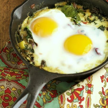 Creamed Kale and Eggs
