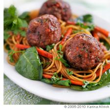 Turkey Meatballs with Asian Noodles and Herbs