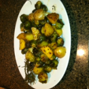 Roasted Honeygold Potatoes and Brussel Sprouts