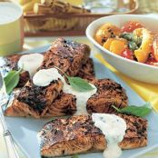 Salmon, grilled with horseradish sauce