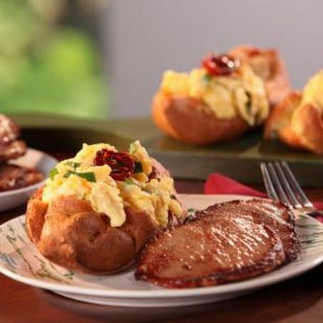 Black Pepper Popovers filled with Vermont Cheddar, Herb Scrambled Eggs & Maple-Mustard Glazed Canadian Bacon
