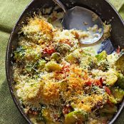 Brussels Sprouts Casserole with Pancetta & Asiago Cheese
