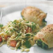 Spinach and Brie Chicken with Tomato Orzo