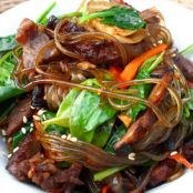 Chap Chae (Stir-Fried Sweet Potato Noodles With Beef, Spinach And Sesame Seeds)