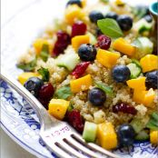 Blueberry Mango Quinoa Salad with Lemon Basil Dressing