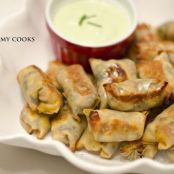Baked Southwestern Chicken Egg Rolls with Avocado Ranch Dipping Sauce