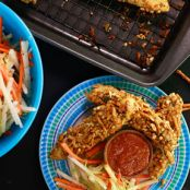 Honey Mustard Pretzel-Crusted Chicken Fingers with Jicama-Apple Slaw
