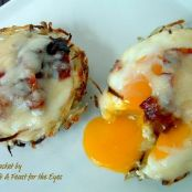 Eggs in Baskets with Candied Bacon Bits
