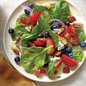 Spinach Salad with Honey Dressing and Honeyed Pecans