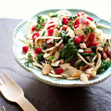 Pasta with Spinach, Pancetta and Pomegranate
