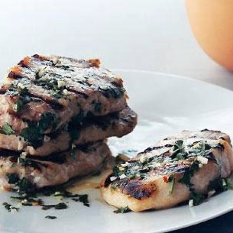 Pork Chops, Grilled with Garlic Lime sauce