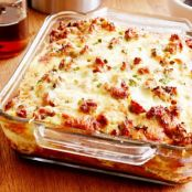 Sausage & Cheese Pancake Breakfast Casserole