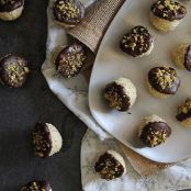 Dark chocolate dipped orange macaroons