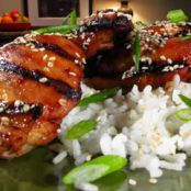 Tamari and Garlic Marinated Chicken Thighs with Coconut Rice