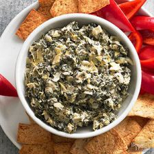 Spinach-Artichoke Dip with Feta and Bacon