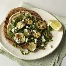 Roasted Zucchini Flatbread with Hummus, Arugula, Goat Cheese & Almonds