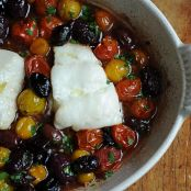 Roasted Cod with Thyme, Olives and Cherry Tomatoes