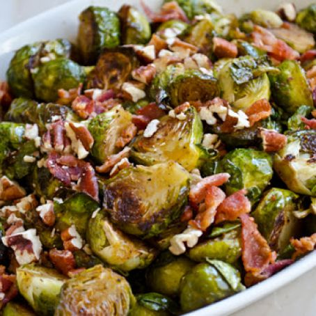 Roasted Brussels Sprouts with Bacon, Pecans & Maple Syrup