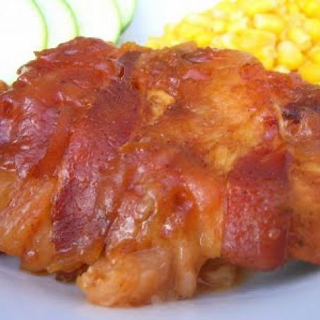 Bacaon wrapped bbq chicken
