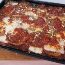 EGGPLANT PIZZA WITH SICILIAN CRUST (THE CHEW)