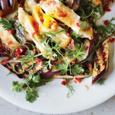 Grilled Eggplant, Crispy Eggs and Fresh Hot Sauce