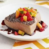 Chia-Crusted Oven-Roasted Tuna with Mango Fruit Salsa