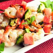 Paleo Grilled Shrimp Skewers with Watermelon and Avocado
