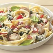 Sweet and Creamy Bacon and Sausage Linguine