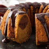 Pumpkin-Chocolate Swirl Cake with Chocolate Ganache