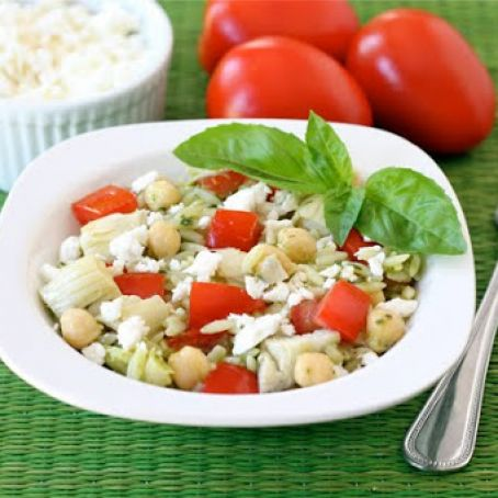 Orzo Salad with Artichokes, Tomatoes, Chickpeas, Feta & Lemon Basil Dressing