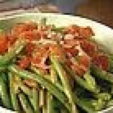 Sauteed Green Beans with Tomatoes and Basil served with Parmesan Crisps