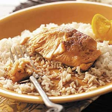 Orange Salmon with Rice