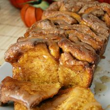 Cinnamon Sugar Pumpkin Bread with Buttered Rum Glaze